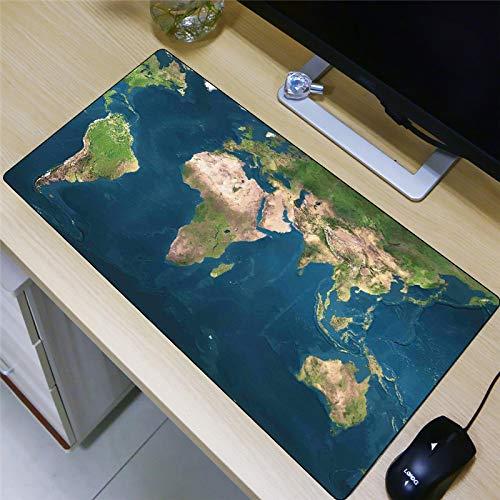 alfombrilla de ratón infantil Alfombrilla de Ratón Grande Gaming Mouse Pad XXL 1200x600x3mm Mapa del mundo azul Lavable, Bordes cosidos Resistente al Agua y Antideslizante Base de Caucho para PC y Por