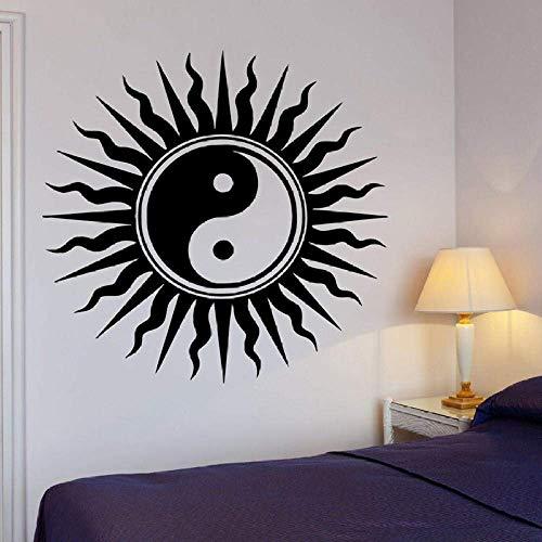 Vinyl Wandtattoo Buddha Wandtattoos Yin Yang Orientalische Wandaufkleber Entspannung Dekor Sun Art Wandbild Für Schlafzimmer 61X57Cm