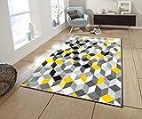Koton Cara Tapis de Salon Multicolore (Noir, Gris, Blanc, Jaune, 160 x 230 cm)