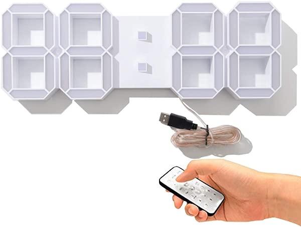 Perfeo 15 英寸多功能巨型挂钟简约 LED 数字挂钟遥控器带倒计时器温度日期仓库办公室家用客厅白色