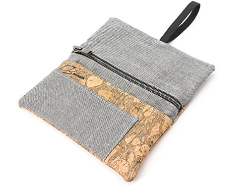SIMARU Portatabacco Borsello in robusto sughero/cuoio di sughero e tessuto di cotone organico,...