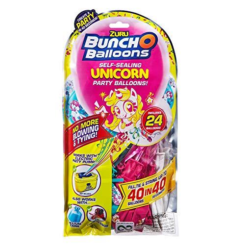 Zuru 56185D Bunch O Balloons Party, 40 Sekunden, Refill Pack mit 24 Ballons und Adapter, mit Einhorn Motiv, bunt