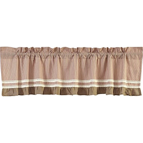 """VHC Brands Classic Country Farmhouse Kitchen Window Curtains - Kendra Stripe White Valance, 19"""" x 90"""", Red"""