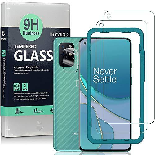 Ibywind Panzerglas Schutzfolie für das OnePlus 8T [2 Stück] mit Kamera Schutzfolie, Carbon Fiber Skin für die Rückseite, Inklusive Easy Install Kit (Zentrierrahmen)