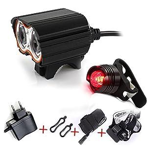 Linterna LáMPARA para Bicicletas Bici CREE XM-L U2 - Luz LED Frontal para Manillar de Bicicleta (2 focos, 5000 Lumens, 4 Modos) con 2 x Luz Luces Lámpara Trasera para Bici Bicicleta
