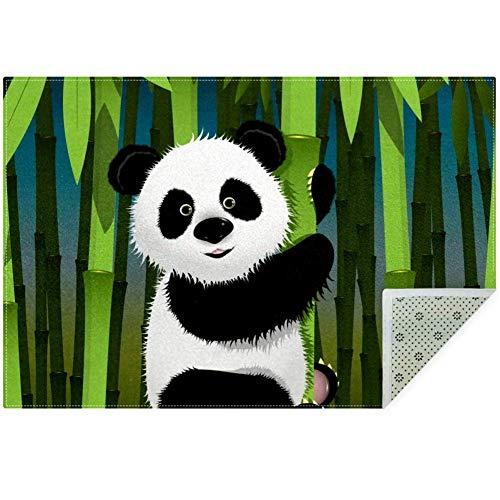 LORVIES Panda und Bambus Teppich Teppich rutschfeste Bodenmatte Fußmatte für Wohnzimmer Schlafzimmer 149,9 x 99,1 cm, Polyester, multi, 160x120cm/63x47in