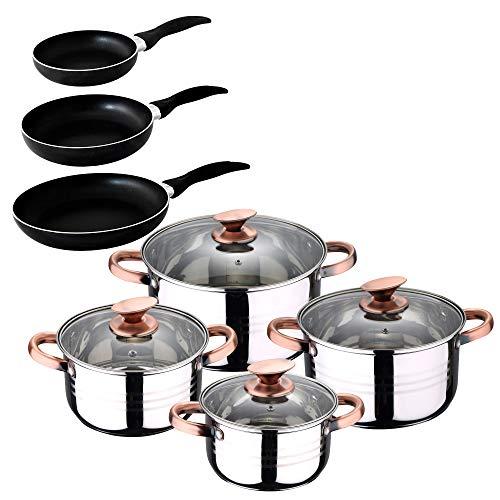 San Ignacio -  Cocina- Batería 11 piezas: 4 cacerolas 4 tapas de vidrio y 3 sartenes 16/20/24, acero inoxidable, inducción