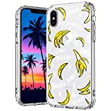 MOSNOVO iPhone X Case, iPhone Xs Case, Banana Clear Design Pattern Printed Transparent Plastic Hard Back Case with TPU Bumper Protective Case Cover for Apple iPhone X/iPhone Xs