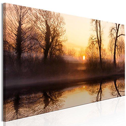 murando Cuadro en Lienzo Bosque Niebla 150x50 cm 1 Parte Impresión en Material Tejido no Tejido Impresión Artística Imagen Gráfica Decoracion de Pared Naturaleza c-C-0185-b-a