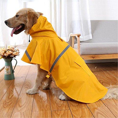 Ltuotu - Giacca-cappotto impermeabile per cani, con cappuccio, dimensione regolabile, riflettente, ottima anche per cuccioli o gatti, giallo, L