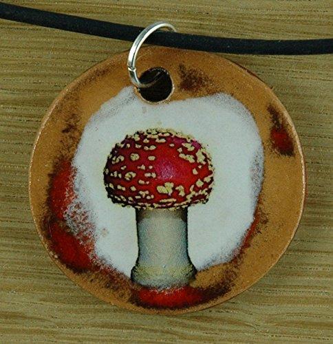Echtes Kunsthandwerk: Hübscher Keramik Anhänger mit einem Fliegenpilz; Glücksbringer, Glück, Pilz, Wald, Geschenk