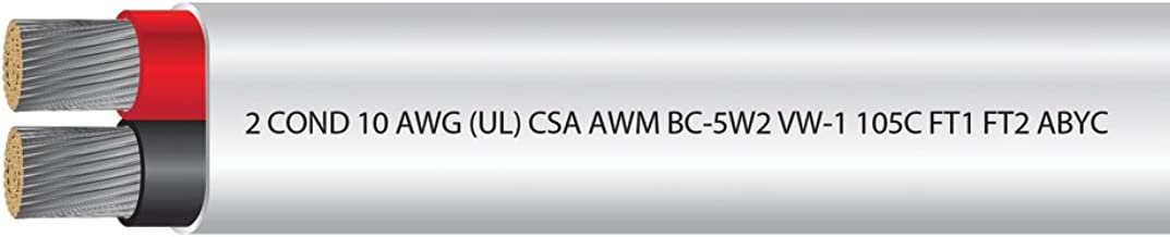 EWCS 10 AWG 2Conductor UL Approved USCG Approved Tinned Copper Duplex Flat Boat Cable Rated 600 Volts Spec - Made in USA! - 100 FEET