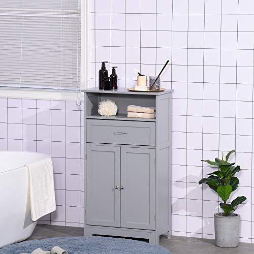 kleankin Modern Floor Bathroom Storage Cabinet Free Standing Cupboard with Drawer and Adjustable Shelf, Entryway Living Room Organizer,Grey