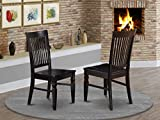 East West Furniture Weston kitchen chairs - Wooden Seat and Black Solid wood Figure dining room chair set of 2