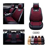OASIS AUTO Leather&Fabric Car Seat Covers, Faux Leatherette Automotive Vehicle Cushion Cover for Cars SUV Pick-up Truck Universal Fit Set Auto Interior Accessories (OS-008 Full Set, Burgundy)