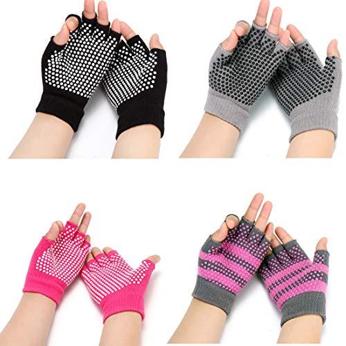 HaveDream Non Slip Yoga gloves for Women, Toeless Anti-skid Pilates, Barre, Ballet, Bikram Workout gloves 4Pack
