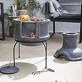 La Hacienda Teplo - Caminetto per barbecue in terracotta, colore: Grigio (bruciatore a legna, braciere da giardino, stufa per patio