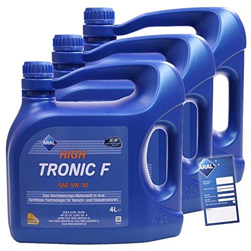 3x 4 L = 12 Liter ARAL HighTronic F 5W-30 Motoröl inkl. Ölwechselanhänger
