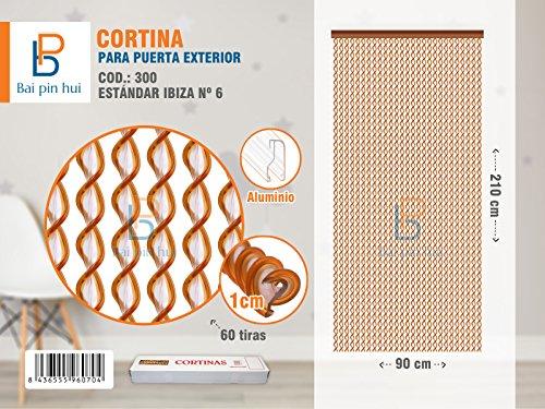 Bai Hui Pin) (Cod. 300) Rideau de porte extérieur, modèle ibiza, 60 Bandes, couleur : orange, matériaux : plastique et aluminium, dimensions : 90 x 120 cm