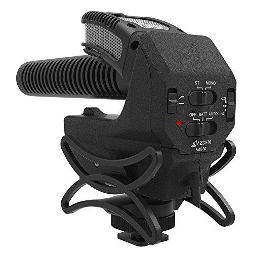 AZDEN 一眼レフ用マイク SMX-30 ステレオ/モノラル切替式 超指向性 ショックマウント・風防付属 単三型乾電...