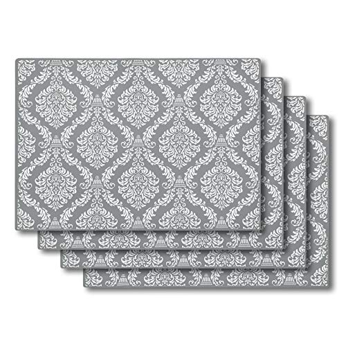 SUBEKYU Silicone Placemats for Dining Table, Place Mats for Toddlers/Kids/Baby Set of 4, Waterproof/Non Slip Rubber Placemats, Heat Resistant Table Mats for Kitchen Counter Protector (Light Grey)