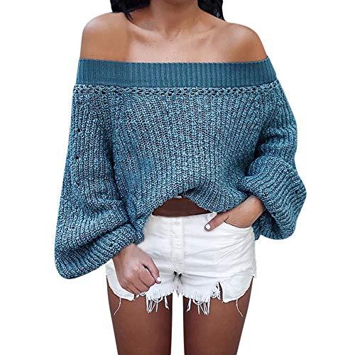 FRAUIT mode vrouwen Solid Off trui schouder gebreide warme lange lantaarn mouwen sweater blouse dames lange mouwen sweatshirt herfst winter trui diepe effen losse pasvorm
