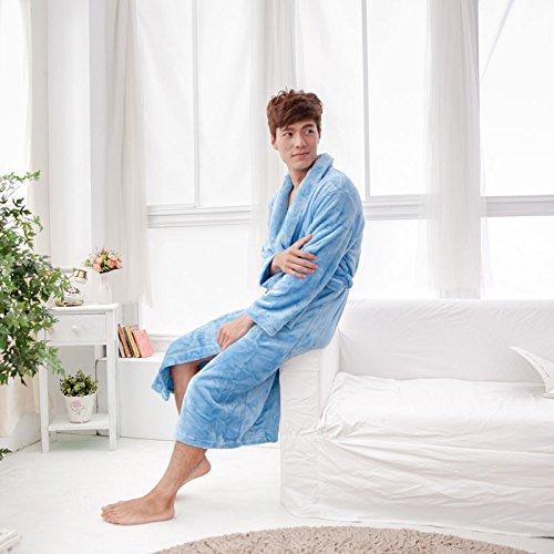 WTBI Pijamas de Lana Coral Pijamas Mujer otoño e Invierno Franela Gruesa de Manga Larga Albornoz para Hombre Servicio a Domicilio-Azul Cielo, XL