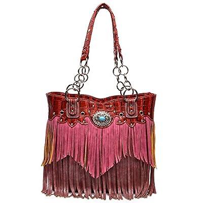 Western Style Fringe Handbag Concealed Carry Purse Country Large Tote Conchos Purse Women Shoulder Bag