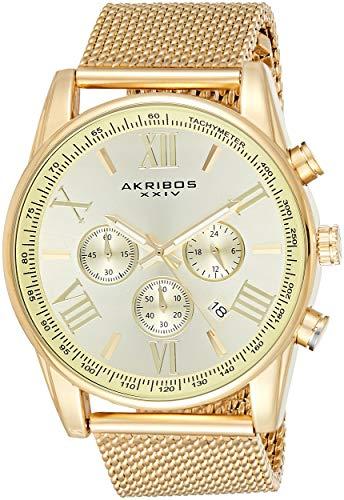 Akribos Omni Mens Dress Watch - Round Radiant Sunburst Dial - Swiss Chronograph Quartz - Stainless Steel Mesh Strap - AK813