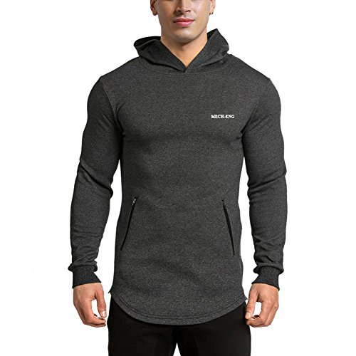 LANGCHEN Men's Gym Workout Hoodie Training Sports Pullover with Zipper Pockets Hoody Dark Grey Large