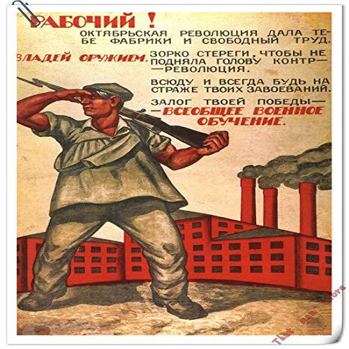 zzlfn3lv Soldados Que luchan contra el Enemigo Comunismo soviético Stalin soviético Decoración clásica del Cartel DIY Artista Home Bar Decoración del Cartel 50 * 70 cm