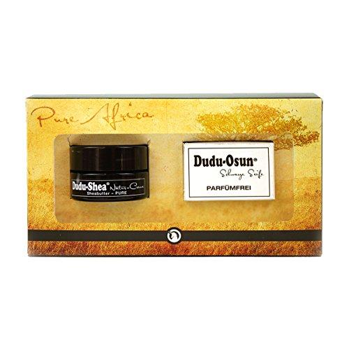 Geschenkset - Dudu-Osun PURE Parfümfreie Schwarze Seife Fragrance-free 25g + Dudu-Shea 100% reine Sheabutter Natur-Creme 15ml