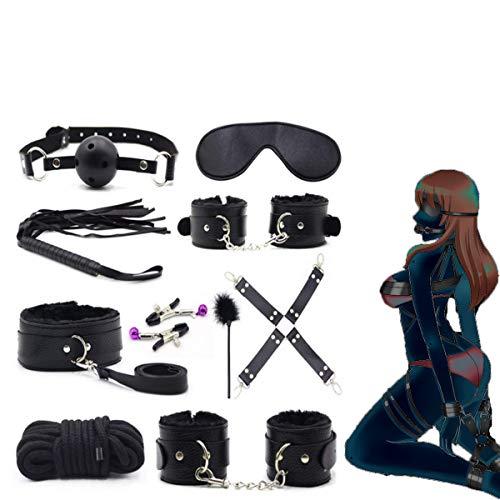 SexReaper Ensemble d'accessoires en Cuir Noir 10pcs