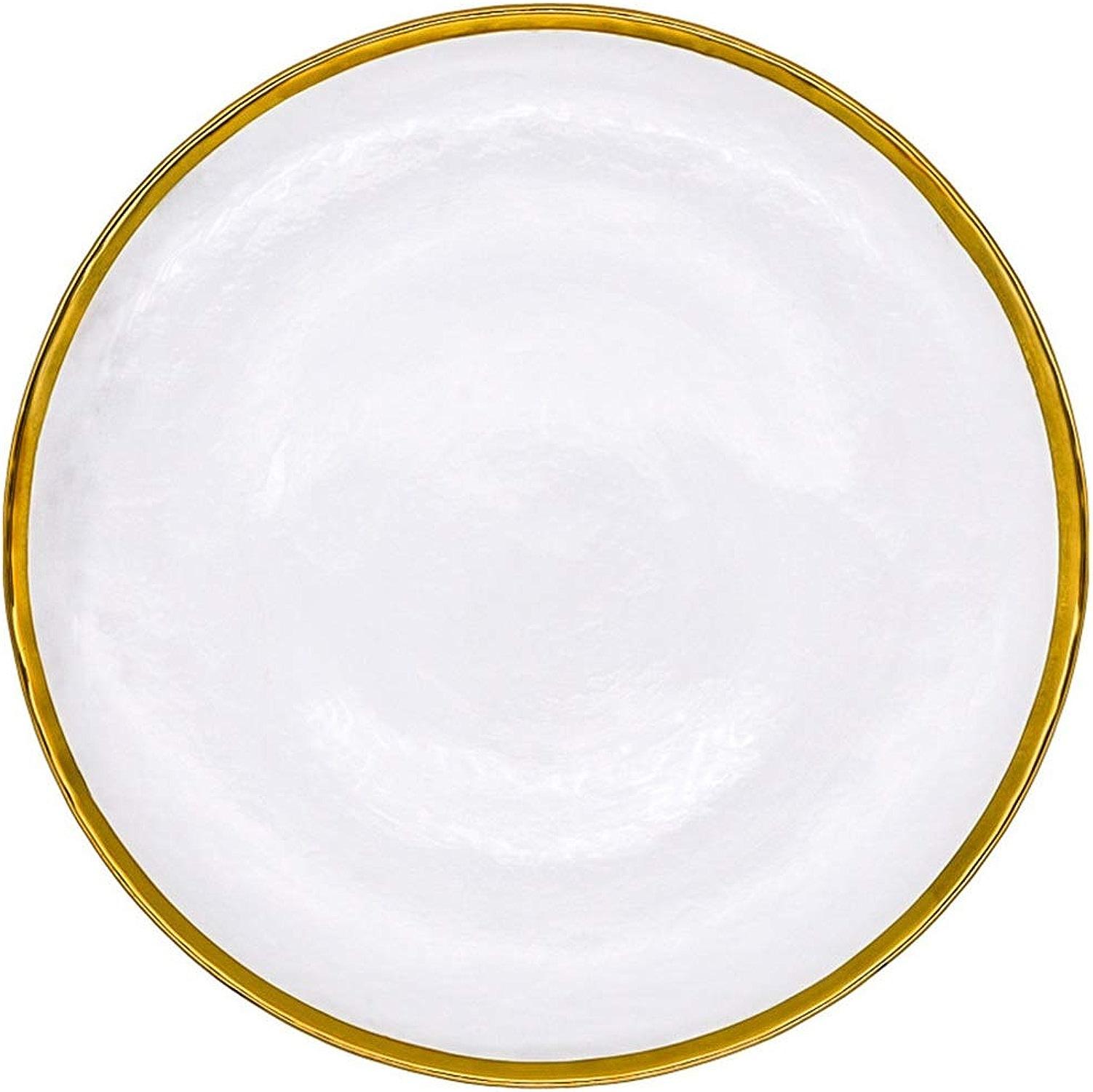 LKK Salad Bowls Bols en Porcelaine Bol en Céramique Manuel Verre Vaisselle Transparent Ménage Costume Adulte Incrusté d'or Creative 2packs (Couleur   Transparent, Taille   31)
