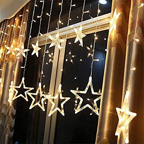 Wangshengchao Cadena de luz LED Cortina de luz LED iluminación navideña 138 Cortina de Cadena de luz LED Largo Copo de Nieve luz de Cadena LED decoración de Navidad Interior/Exterior Navidad