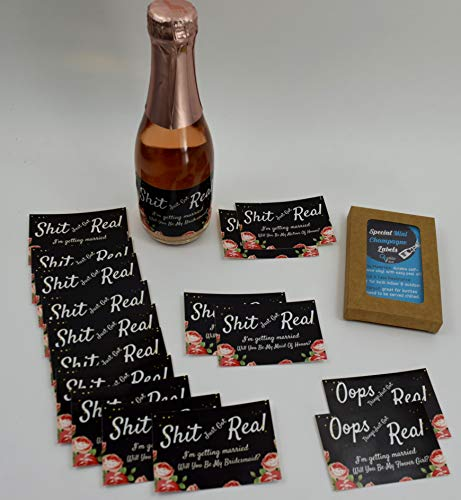(Set of 16) Mini Champagne Labels for Bridesmaid, Matron of Honor, Maid of Honor & Flower Girl | 16 Funny Bridal Party Stickers for Mini Champagne Bottles.
