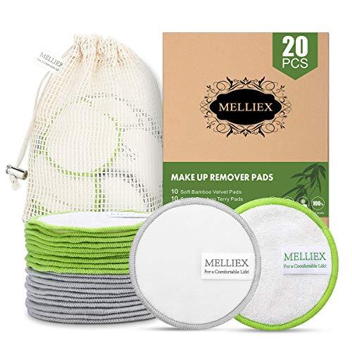 20pcs Tampons Démaquillants Lavables en Bambou Fibre Disques Coton Demaquillant de Visage avec Sac à Lessive