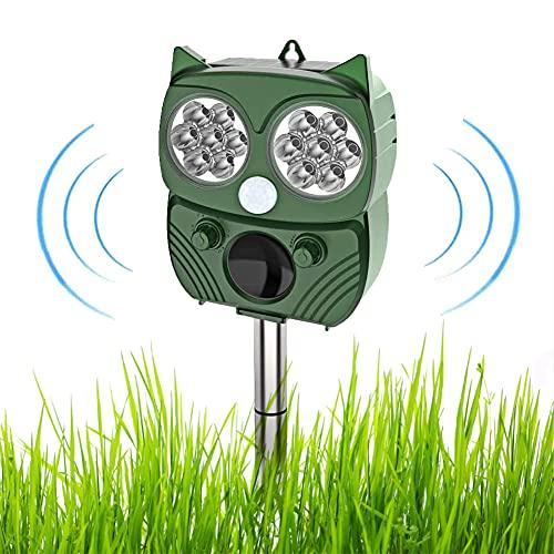 Repelente para Gatos,2021 El más nuevo Solar Ultrasónico Repelente para Gatos Jardin Repelente de Animales con Sensor IR de Frecuencia LED para Gatos, Ratones,Perros, Zorros, Pájaros