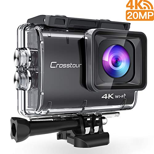 Crosstour CT9500 Nativo 4K30FPS Action Cam 20MP WiFi Action Camera(40M Impermeabile Fotocamera Subacquea, EIS e Vista Regolabile Angolo, 2 x1350mAh Batterie e Kit di Accessori)
