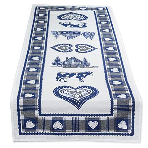 Magnifique chemin de table double face style maison de campagne Bleu env. 47 x 140 cm