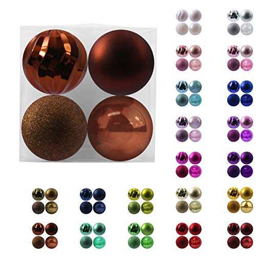 GameXcel 4Pcs Christmas Balls Ornaments for Xmas Tree - Shatterproof Christmas Tree Decorations Large Hanging Ball Bronze 4.0' x 4 Pack