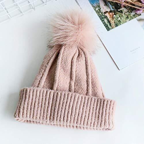 ZTHUAYUAN Tejer Beanie Hat Sombrero de Invierno Hembra Salvaje Color slido tapn de Punto Caliente del Invierno del Casquillo del odo de Espesor multifuncin (Color : Pink, Size : 5458cm)