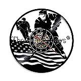 ClockHM Horloge Murale Disque Vinyle Hockey sur Glace Sport Gardiens Buts Disque Vinyle Horloge...