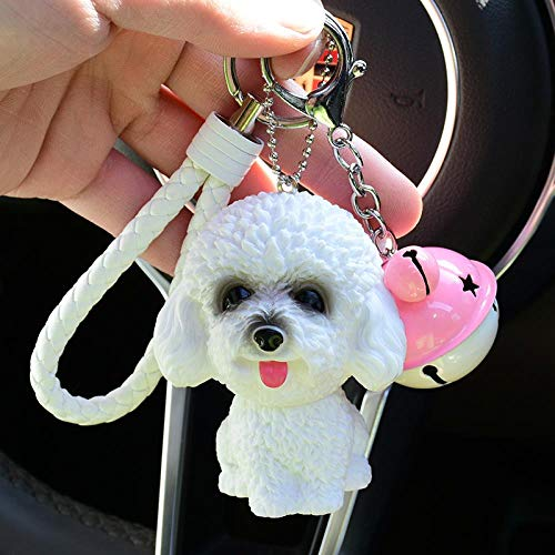 jiwenhua Husky Key Chain Pendant Simulation Hund\'s and Women\'s Bags Trick The Year of The Dog small Gift Mobile Phone car small anhänger, White Teddy + weißes Seil + rosa weiße Glocke