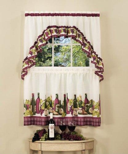 "Achim Home Furnishings CYTS36BU06 Chardonnay Tier and Swag Set, 57"" x 36"", Burgundy"
