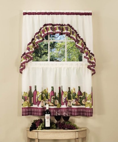 "Achim Home Furnishings CYTS36BU06 Chardonnay Tier and Swag Set, 57"" x 36"", Burgundy"