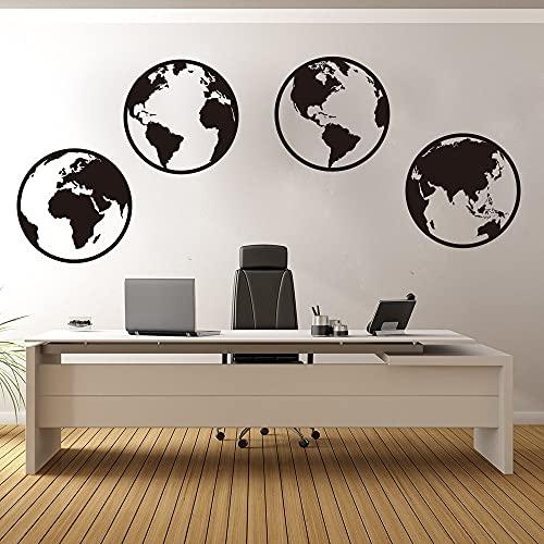 Large Globe Word Map Worldw Etiqueta de la pared Office Nursery Travel World Map Tatuajes de pared Dormitorio Sala de estar Vinilo Decoración Juego de 4 28cmdiameterx4pcs