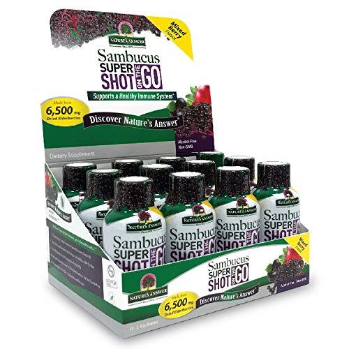 Sambucus Immune Travel Shot (12 Pack) Nature's Answer Elderberry Shot on The Go. 2oz. Alcohol Free Non-GMO Sambucus Black Elderberry Airplane/Travel Shot