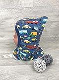 Schlupfmütze Autos blau,Mütze und loop, Jersey Fleece Gr 40-56 kindermütze, halssocke, mütze baby junge schalmütze