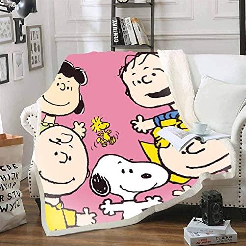 Proxiceen Peanuts Snoopy Manta de Snoopy con diseño de Snoopy y de Snoopy y Woodstock, para niños y adultos (13,150 x 200 cm)